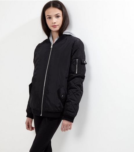 Teens Black Quilted Borg Lined Bomber Jacket | New Look