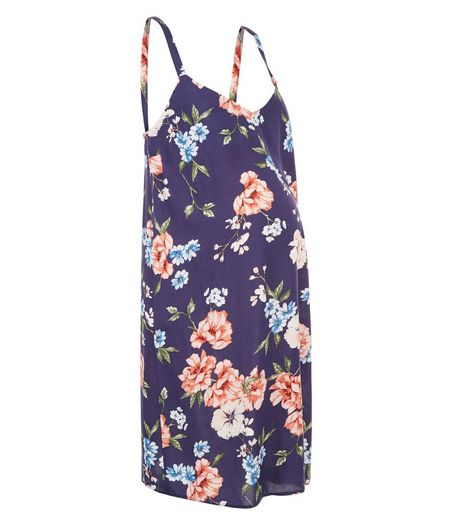 Maternity Blue Floral Print Slip Dress | New Look