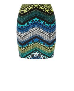 Blue Tribal Zig Zag Print Tube Skirt  | New Look