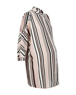 Maternity Pink Stripe Cold Shoulder Shirt  | New Look