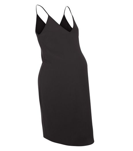 Maternity Black V Neck Cami Slip Dress | New Look