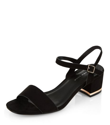 Wide Fit Black Suede Metal Trim Mid Block Heeled Sandals  | New Look