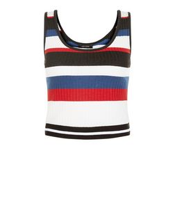 Multicoloured Fine Knit Cropped Vest  | New Look