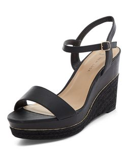 Wide Fit Black Espadrille Platform Wedges  | New Look