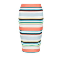 Multicoloured Stripe Pencil Sirt  | New Look