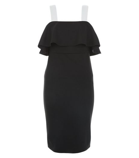 Black Colour Block Frill Trim Bodycon Dress  | New Look