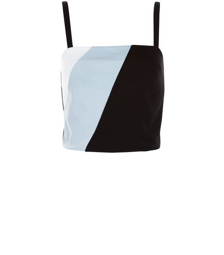 Black Colour Block Strappy Crop Top  | New Look