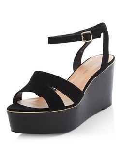 Wide Fit Black Suedette Flatform Sandals  | New Look