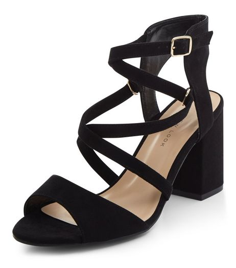 Wide Fit Black Suedette Strappy Block Heels  | New Look