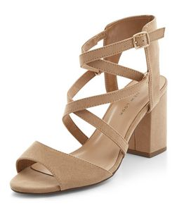 Wide Fit Camel Suedette Strappy Block Heels  | New Look