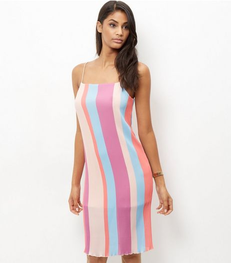 Multicoloured Stripe Pleated Strappy Dress | New Look