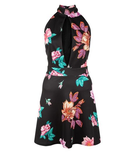 Black Floral Print Cut Out Funnel Neck Skater Dress  | New Look
