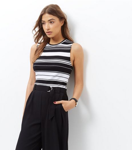 Monochrome Stripe Sleeveless Top  | New Look