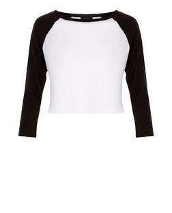 White Colour Block Raglan Crop Top  | New Look