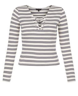 White Stripe Lace Up Long Sleeve Top  | New Look
