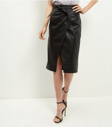 Black Leather-Look Tie Waist Wrap Front Midi Skirt  | New Look