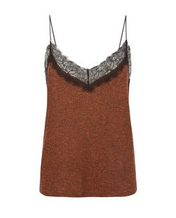 Rust Fine Knit Lace Trim Cami  | New Look