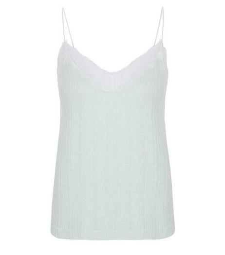 Light Green Fine Knit Lace Trim Cami  | New Look