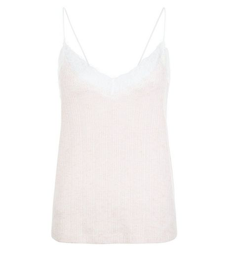 Mid Pink Fine Knit Lace Trim Cami  | New Look