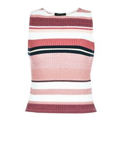 Pink Ribbed Stripe Sleeveless Top  | New Look