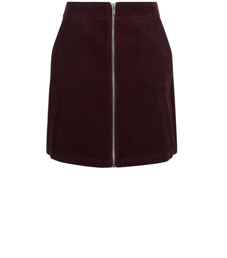 Burgundy Zip Front Cord Skirt | New Look