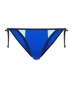 Blue Colour Block Tie Side Bikini Bottoms | New Look