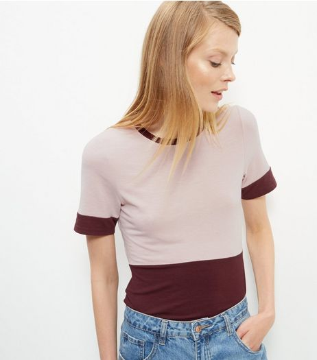 Burgundy Colour Block T-Shirt  | New Look