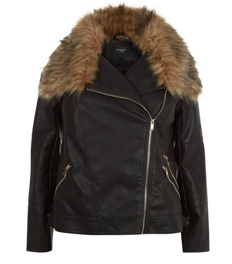 Curves Black Faux Fur Trim Leather-Look Jacket | New Look
