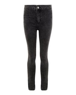Teens Black Acid Wash High Waisted Super Skinny Jeans | New Look