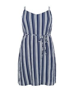 Curves Blue Stripe Tie Waist Slip Dress  | New Look