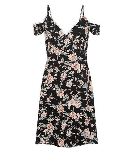 Black Floral Print Lace Trim Cold Shoulder Dress  | New Look