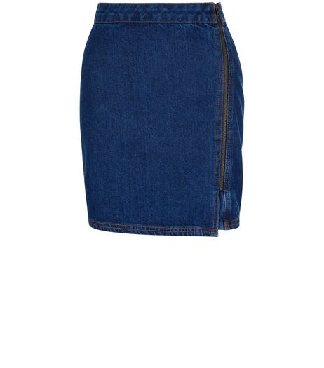 Blue Zip Side A-Line Denim Skirt  | New Look