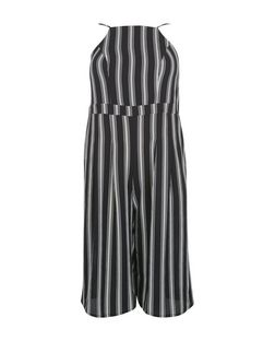 Curves Black Stripe Culotte Jumpsuit | New Look