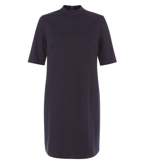 Blue Pinstripe Funnel Neck Mini Dress  | New Look