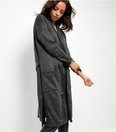 Dark Grey Longline Cardigan  | New Look