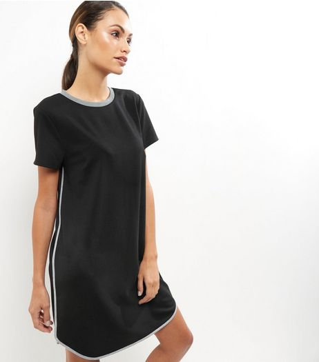 Black Pipe Trim Longline T-Shirt Dress | New Look
