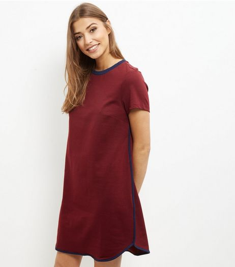 Burgundy Contrast Trim T-Shirt Dress | New Look