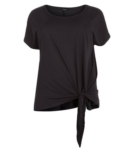Curves Black Tie Side T-Shirt | New Look