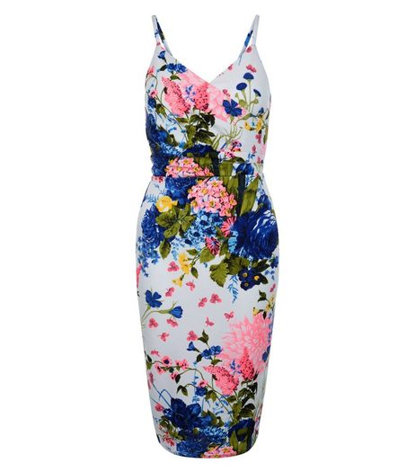 White Floral Print Wrap Front Strappy Midi Dress  | New Look