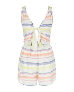 White Stripe Tie Front Playsuit | New Look