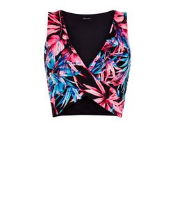 Black Palm Leaf Print Wrap Crop Top | New Look