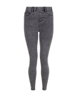 Dark Grey Acid Wash Jeggings  | New Look