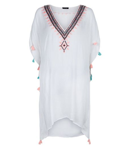 White Embroidered Tassel Kaftan | New Look