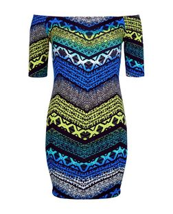 Blue Tribal Zig Zag Print Bardot Neck Bodycon Dress | New Look