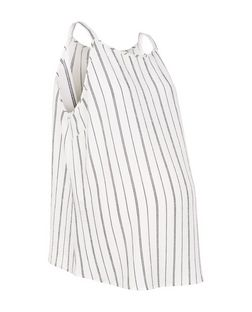 Maternity Cream Pinstripe High Neck Cami | New Look