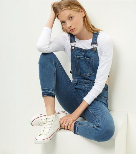 Blue Denim Drop Hem Dungarees  | New Look