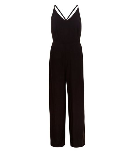 Black Strappy Wide Leg Jumpsuit  | New Look