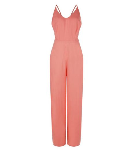 Coral Strappy Wide Leg Jumpsuit  | New Look