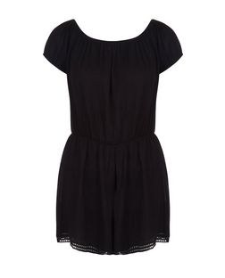 Black Crochet Trim Playsuit  | New Look