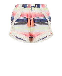 Pink Stripe Fray Trim Shorts  | New Look
